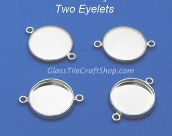 20pk Pendant Tray Connector - 14mm Round Silver Tone (PTC14M)