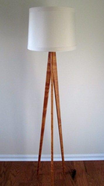 Floor Lamp Tripod Cherry Wood By Waldenwooddesigns On Etsy
