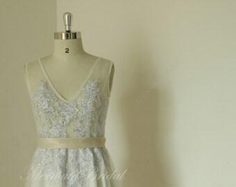 2014 Sleeveless silver sheer ivory wedding dress, wedding dress, destination wedding dress, receiption dresses