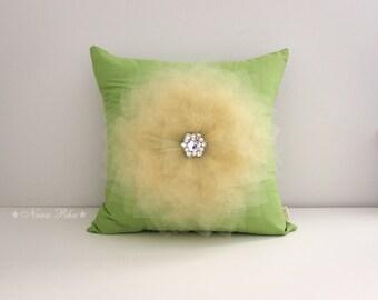 Pillows, Flower Pillow, Bed Pillows, Pillow Cover, Flower Pillow Cover,  Decorative Pillow,Throw Pillow, Green Pillows, Accent Pillow
