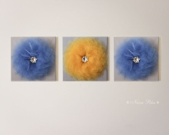 Wall flower blue and yellow home decor 3d flower art by for Room decor embellishment art 3d