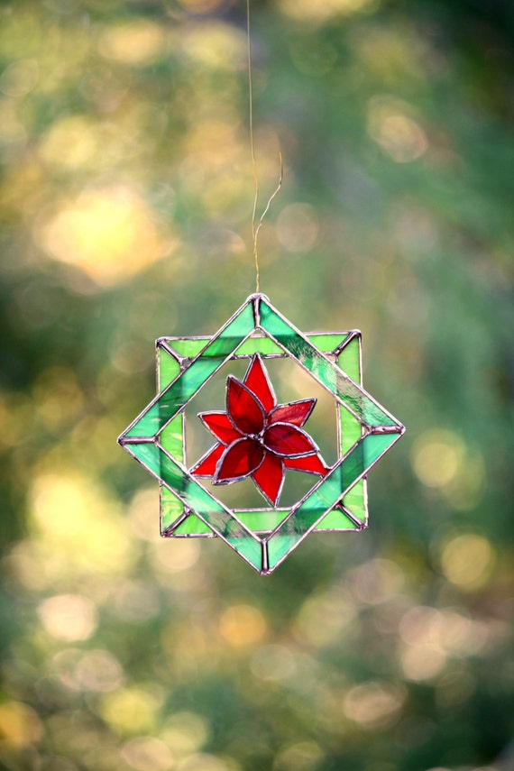 Stained Glass Suncatcher Christmas Poinsettia 3d Quilt