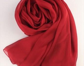 Dark Red Silk Scarf - Maroon Silk Chiffon Scarf - AS18
