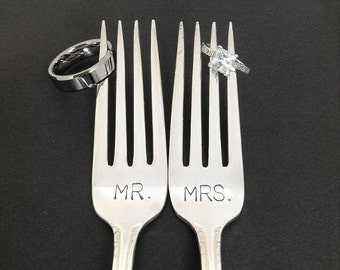 Mr. / Mrs. Fork Set - Hand Stamped Vintage Silverware, wedding forks, wedding silverware
