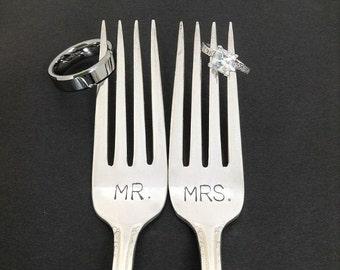 Mr. / Mrs. Fork Set - Hand Stamped Vintage Silverware, wedding forks, wedding silverware