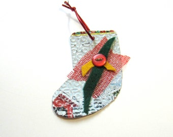 Christmas Stocking Ornament -  Recycled Metal Ornament - Eco Friendly Ornament