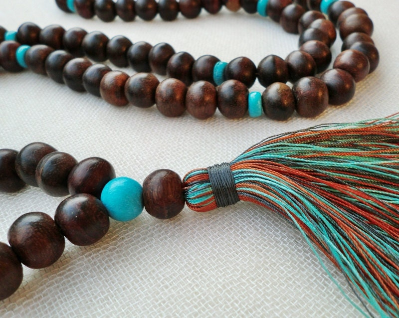 108 chunky wooden bead mala tassel necklace with