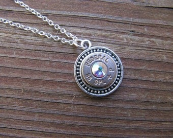 Bullet Jewelry - 38 Bullet Necklace with Clear AB Swarovski Crystal Accents - April Birthstone - 2nd Amendment Jewelry - Country Jewelry