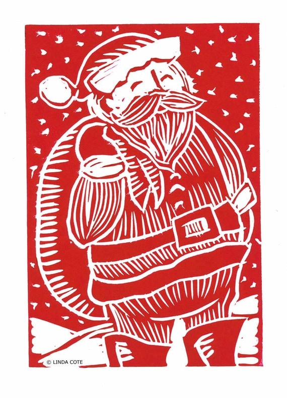 items similar to retro santa hand pulled lino relief