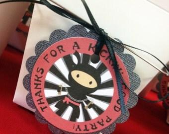 Ninja  Birthday Goodie Tags- set of 24