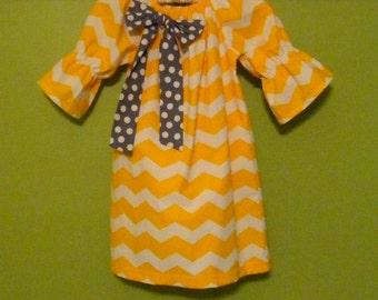 Size 5 T Girls Yellow Chevron Girl's Peasant Dress with Gray Polka Dot Bow, Baby Girl Dress