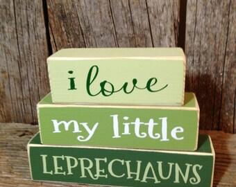 St Patricks day blocks i love my little LEPRECHAUNS mini stacker wood block set home family cute funny st. patricks day decor ART sign