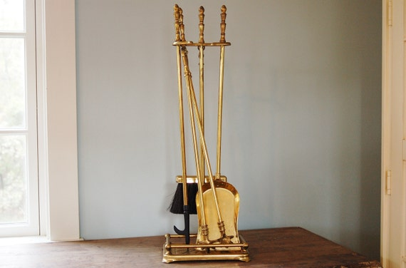 Art Deco Brass Fireplace Tool Set Vintage Brass Plated