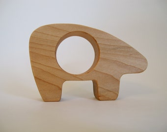 Wood Toy -  Polar Bear Teether - organic, safe and natural for baby