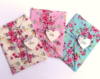 3 x Will you be my bridesmaid Card, Wedding Invitation, bridesmaid reveal. floral fabric envelopes tied with baker's twine