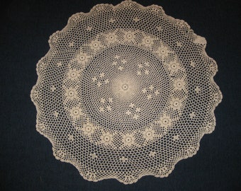 """Large 33"""" Circular Beige Doily (Doilies)"""