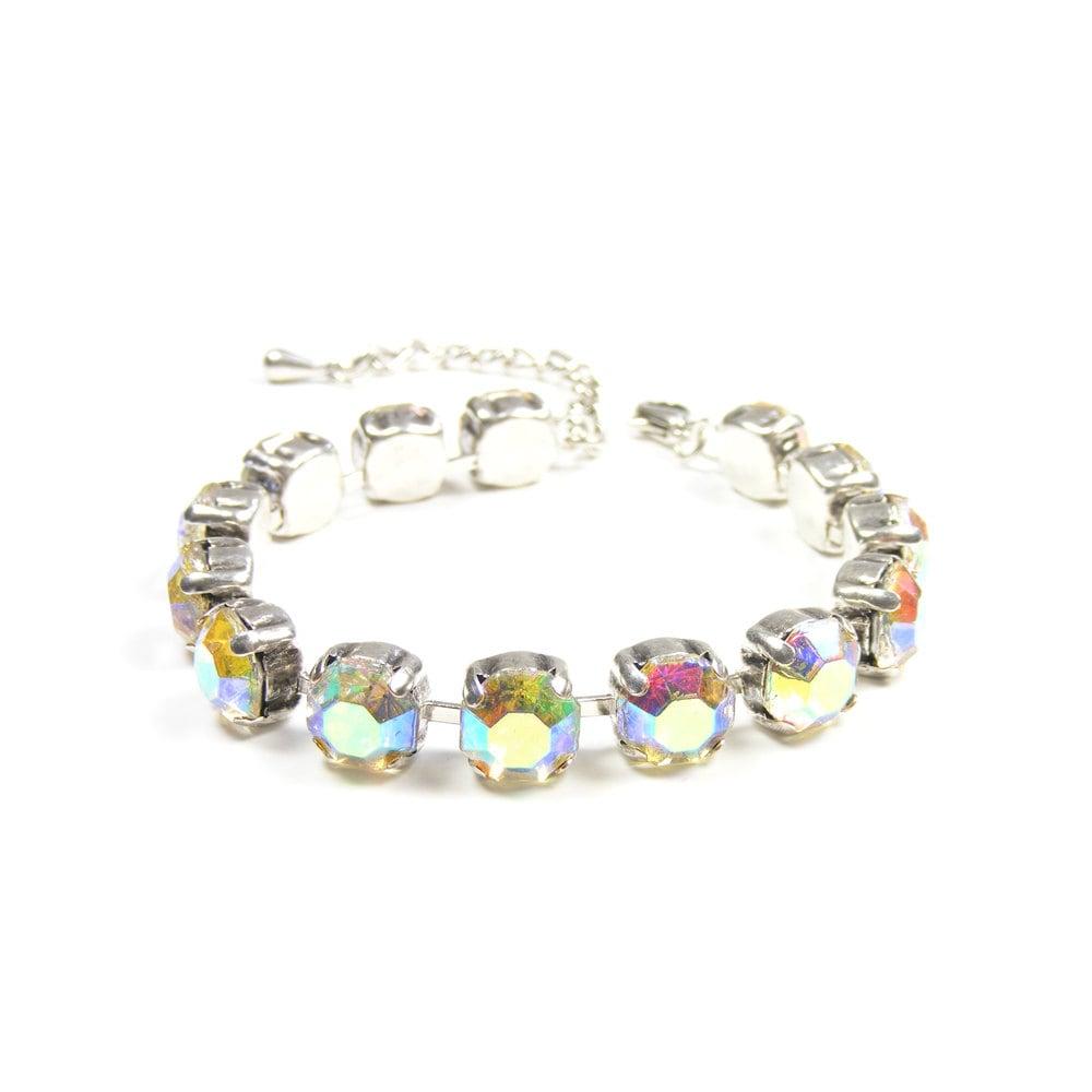 Rhinestone Bracelet, Vintage Crystal Jewelry, Old Hollywood Style Tennis Bracelet