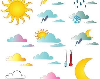 15 Weather Digital Clip Art Elements for Scrapbooking, Food Digital Clip Art, Printable