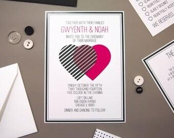 Gwyneth Suite - Printable Wedding Invitation and RSVP -  Modern Pop Art Styling