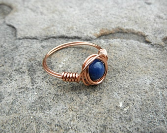 Small Copper Lapis Lazuli Ring, Blue Stone Ring, Wire Wrapped Ring, Blue Ring, Wire Wrapped Jewelry Handmade, Gemstone Ring, Chunky Ring