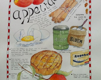 Recipe Grandma's Appel Pie- original watercolor