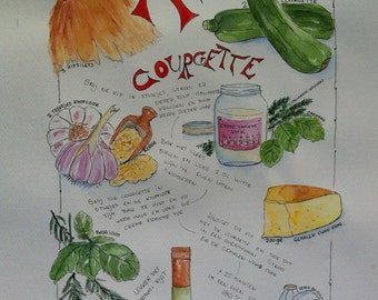 Recipe Chicken with Courgette - watercolor