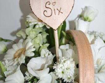 Romantic Wedding, Table Numbers, Rustic wedding,  Love Heart, Table Number, Wedding Decor