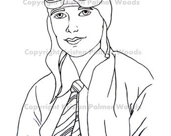 Popular Items For Amelia Earhart On Etsy Amelia Earhart Coloring Page