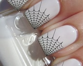 Free Shipping - 29 Black SPIDER WEB Tips Nail Art (WTB) - Professional Results Waterslide Decals - Not Stickers or Vinyl