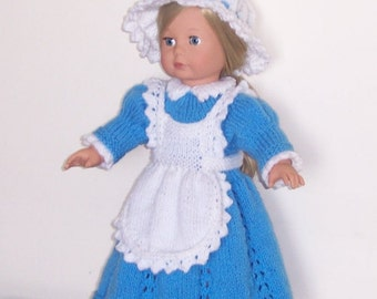 "Victorian Maid,  PDF knitting pattern for 18"" doll, dress, cap and apron, fits American Girl, Gotz, Our Generation, and similar size dolls."