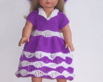 "Dolls clothes PDF knitting pattern for 18"" 19""doll, American Girl,Gotz, Our Generation and similar size dolls."