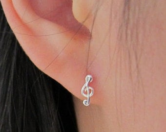 Sterling Silver Treble Clef Stud Earrings, Music note stud earrings,  tiny Stud Earrings, Everyday Jewelry, dainty earrings, gift for friend