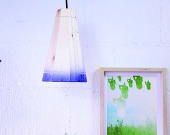 Blue Pendant Lamp Shade Handmade in Recycled Pallet Wood, Medium Hanging Ceiling Light