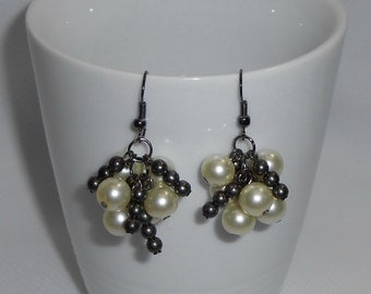 Antique White Pearl Earrings Clusters, Hypoallergenic Earrings, Black and White Earrings, Dangle Earrings