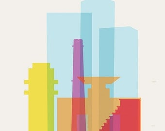 Shapes of Tel Aviv art print