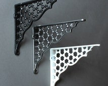 """Pair of 6"""" x 5"""" Cast Iron Shelf Brackets Metal Antique Style Honeycomb x 2 Shelving Brackets Heavy Duty Supports - White Black Pewter ~ BR05"""