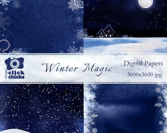 Winter Magic Digital Papers Pack - INSTANT DOWNLOAD