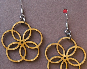 Laser-cut Five-Circle Loop Earrings