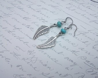 Antique silver feather earrings with turquoise beads