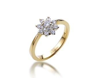 Flower diamond engagement ring in 14k rose gold band floral flower engagement ring promise ring statement ring unique engagement ring floral engagement junglespirit Choice Image