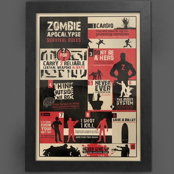 Zombie Survival Rules Print, Apocalypse Guide, The Walking Dead, WWZ ...