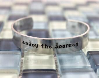 Graduation Gift / Graduate Gift / Enjoy The Journey Bracelet / Promotion Gift / Custom Hand Stamped Aluminum Bracelet / Gift for Graduate