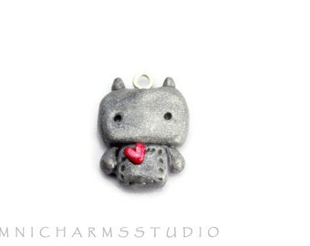 Kawaii Robot Polymer Clay Charm with Cell Phone Strap