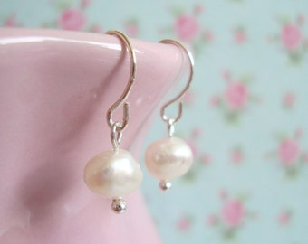Freshwater Pearl Earrings, Stocking Filler, Mothers Day Gift Idea, Genuine Pearl Earrings, Bridesmaid Jewellery for Mum, Sterling Silver