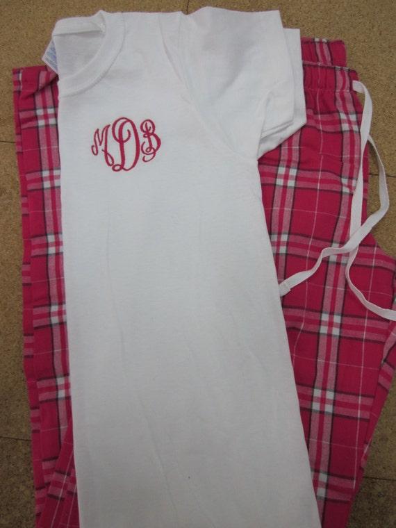 monogrammed pajama set