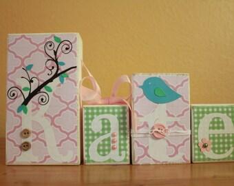 Bananafish Lovebird- Baby Shower Decor- Personalized Wood Blocks- Baby Blocks- Shabby Chic Nursery- Bird Nursery- Pink and Green Nursery