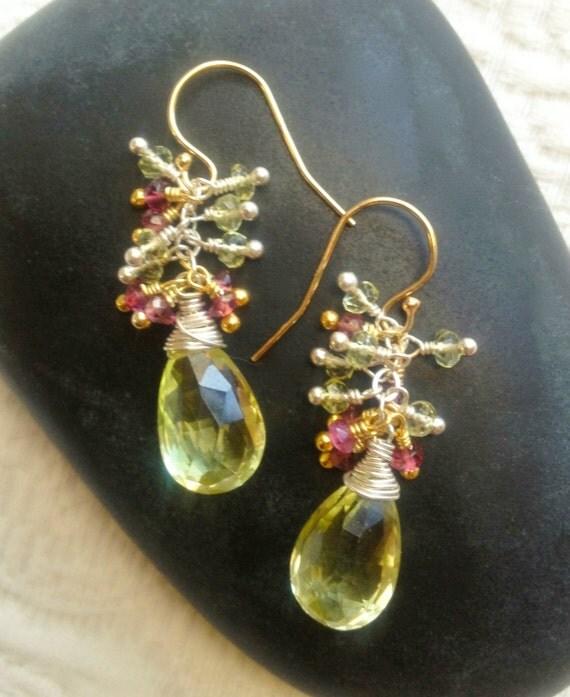 Lemon Quartz Briolette Earrings / pink tourmaline / yellow sapphire / Yellow Gemstone / Gift for Her