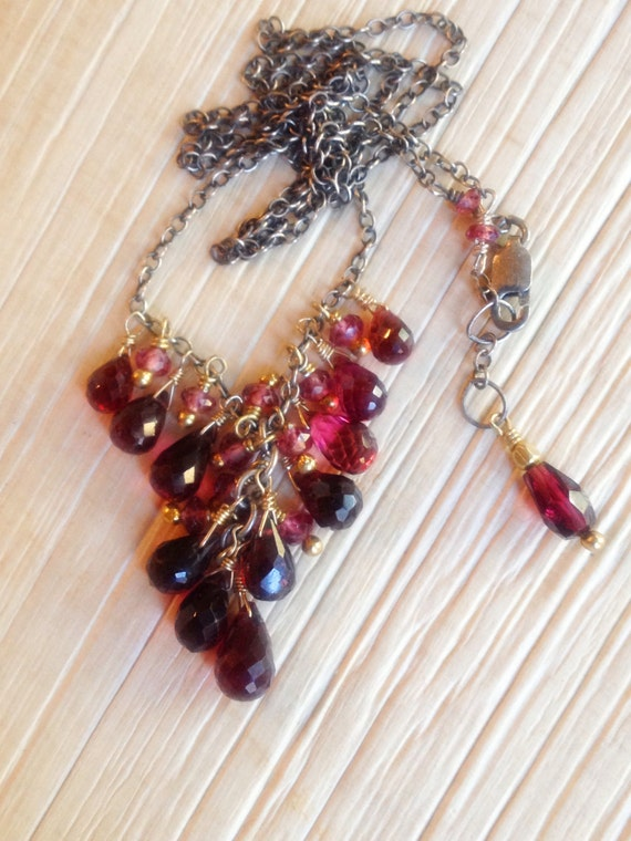 Garnet Cluster Necklace Rholdolite Garnet , Mixed Metal, January Birthstone, Root Chakra Jewelry, Gift For Her, Bridal Gift