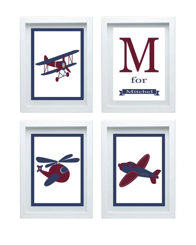 Airplane art nursery decor airplane print wall art aviation for Airplane wall decoration