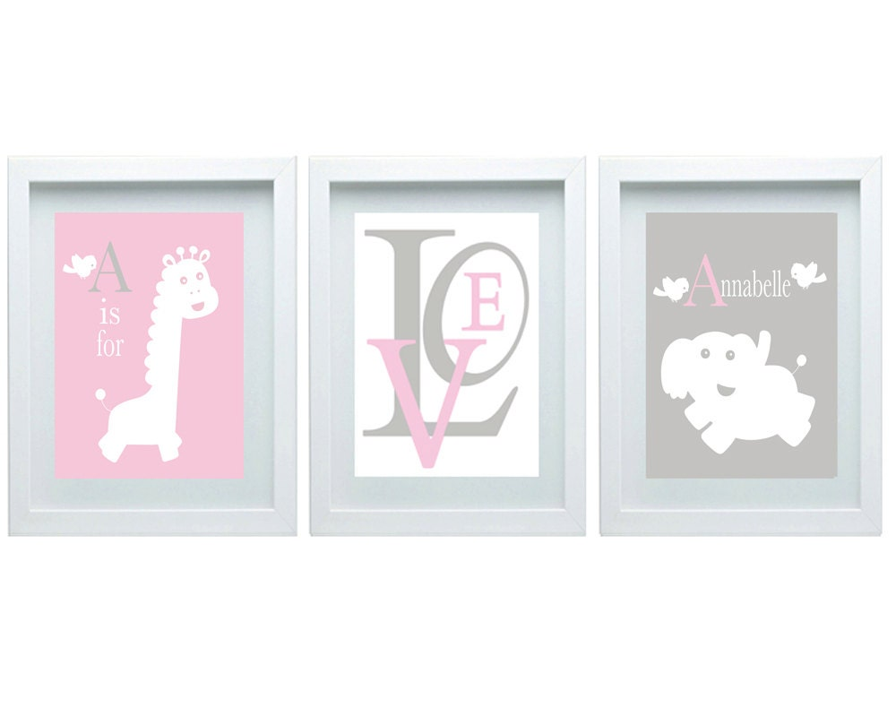 Elephant Giraffe Nursery Decor Pink Gray Nursery Girl Room